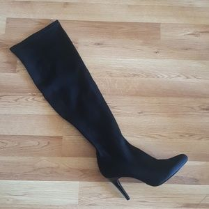 Nine West 6.5 Women's blk thigh high stretch boots